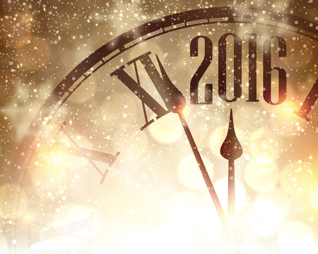 new years vacation: 2016 New Year shining background with clock. Vector illustration.