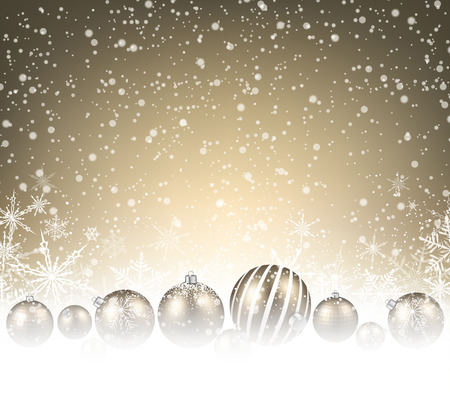 advertisements: Christmas background with balls and snowflakes. Vector illustration. Illustration