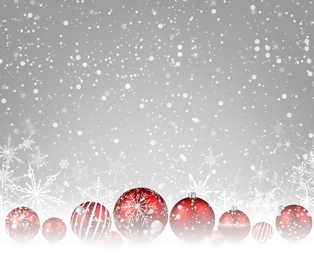 merry: Christmas background with red balls. Vector illustration. Illustration