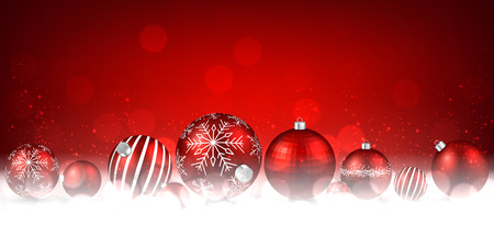 xmas background: Christmas red background with balls. Vector paper illustration.