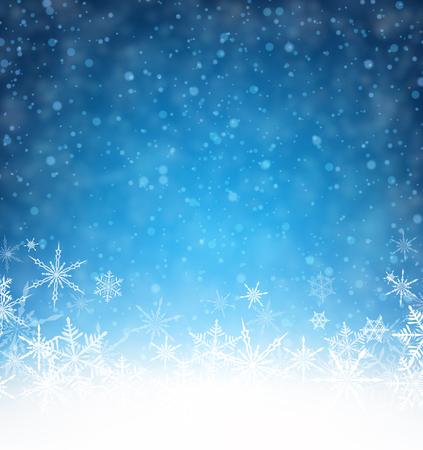 Blaue Winterkarte mit Schneeflocken. Vektor-Papier-Illustration.