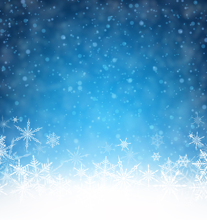Blue winter card with snowflakes. Vector paper illustration.
