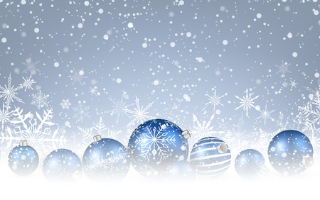 christmas blue: Christmas background with blue balls. Vector illustration.
