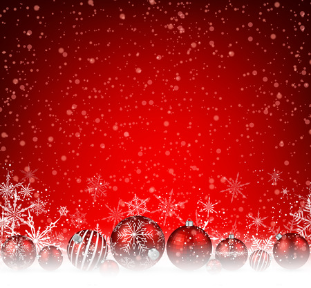 red christmas background: Christmas red background with balls and snowflakes. Vector illustration.