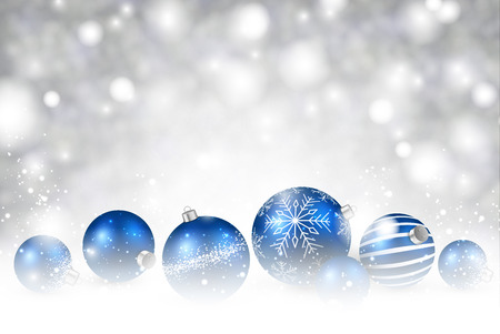 gray strip: Christmas background with blue balls. Vector illustration.