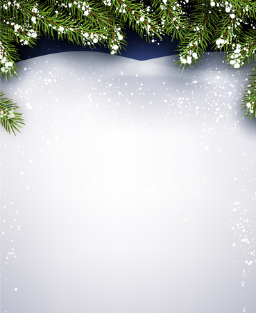 New Year background with fir branches. Vector illustration.