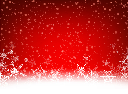 enero: Tarjeta roja del invierno con copos de nieve. Vector ilustración de papel.