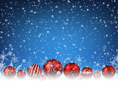 blue snowflakes: Christmas blue background with red balls. Vector illustration.