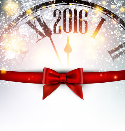 new year celebration: 2016 New Year card with clock and bow. Vector illustration.