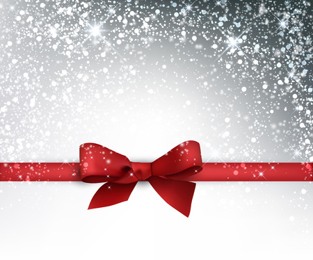 bow ribbon: Festive card with red bow and snow. Vector illustration.