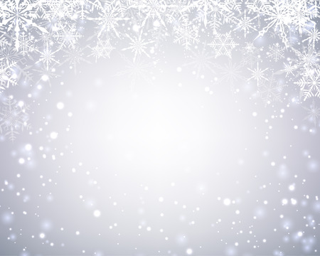 silver background: Winter card with snowflakes. Vector paper illustration.