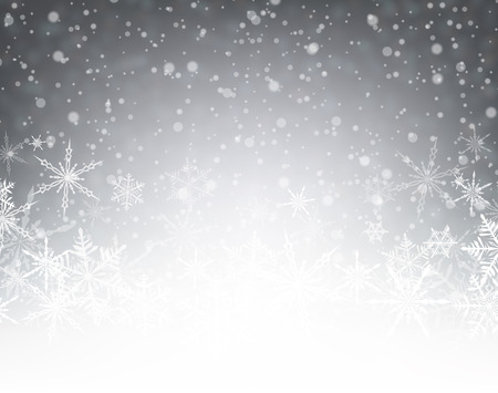 Gray winter card with snowflakes. Vector paper illustration.