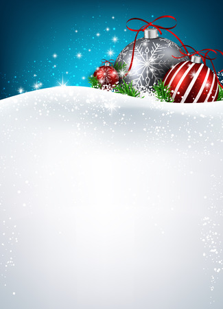 Christmas background with balls. Vector paper illustration. Illustration