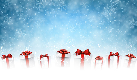 red bow: New Year background with gifts and snow. Vector illustration. Illustration