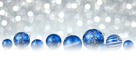 neige noel: New Year background with blue balls. Vector illustration.