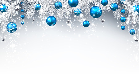 Christmas background with blue balls. Vector paper illustration. Vettoriali