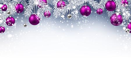 Weihnachten Hintergrund mit lila Kugeln. Vektor-Papier-Illustration. Illustration