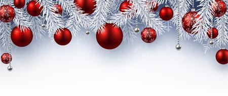 abetos: Fondo de Navidad con bolas rojas. Vector ilustración de papel. Vectores