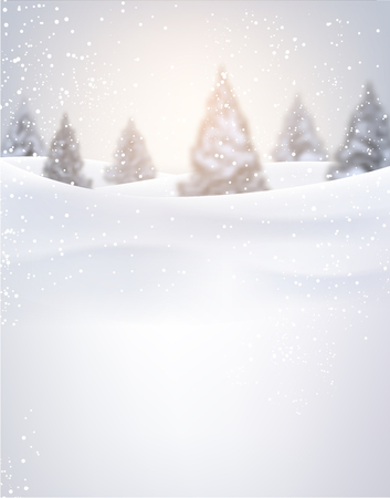 firtrees: Winter background with fir-trees and snow. Vector illustration. Illustration