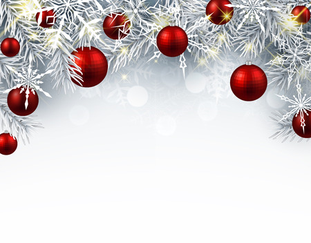 Christmas background with red balls. Vector paper illustration.