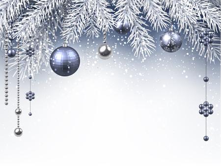 실버 공 크리스마스 배경입니다. 벡터 종이 그림.