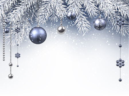 Christmas background with silver balls. Vector paper illustration.