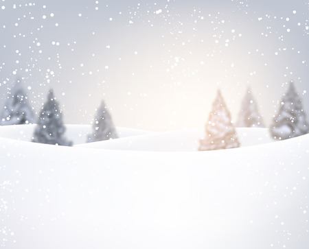 firtrees: Winter background with fir-trees. Vector illustration.