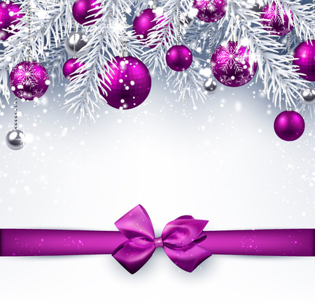 Christmas background with purple balls and bow. Vector illustration. Vettoriali