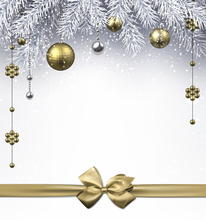 Christmas background with golden balls and bow. Vector illustration. Vettoriali