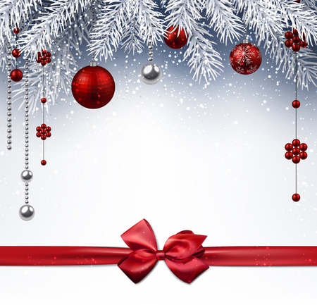 Christmas background with red balls and bow. Vector illustration.