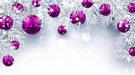 Christmas background with purple balls. Vector paper illustration.