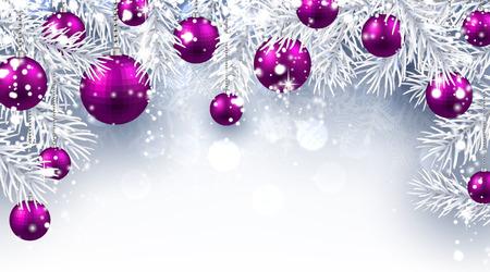 Kerst achtergrond met paarse ballen. Vector papier illustratie. Stock Illustratie