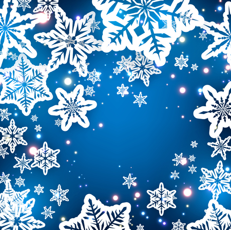 happy holidays: Winter blue background with snowflakes. Vector paper illustration.