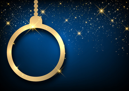 golden frame: Christmas blue sparkling background with ball. Vector paper illustration.