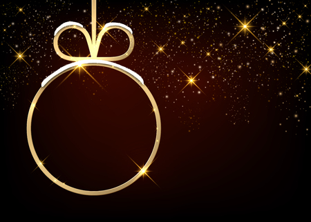 sparkling: Christmas sparkling background with ball. Vector paper illustration.
