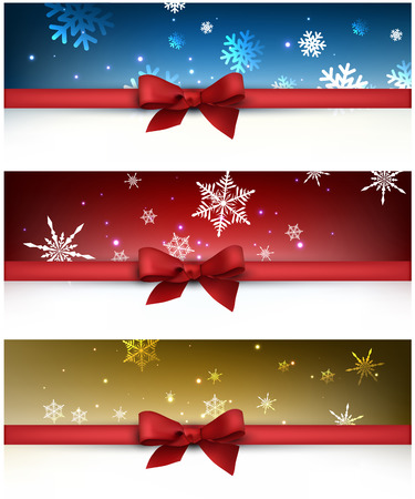 christmas blue: Winter festive backgrounds set with bow. Vector illustration.