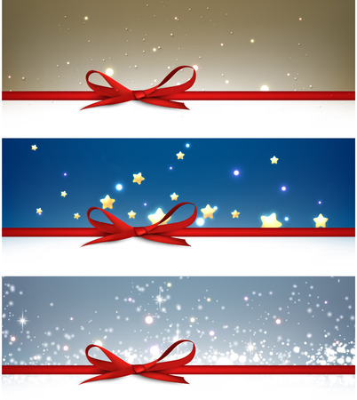 sparkling: Winter festive backgrounds set with bow. Vector illustration.
