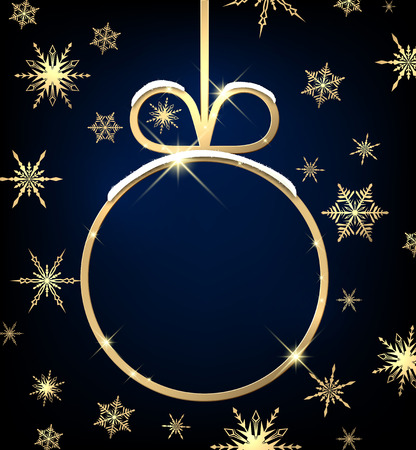 golden frame: Christmas background with ball and snowflakes. Vector paper illustration. Illustration