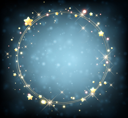golden frame: Blue background with garland of stars. Vector illustration.