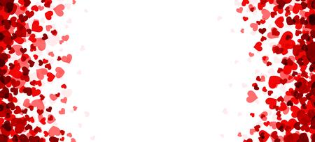 Romantische witte achtergrond met rode harten. Vector papier illustratie.