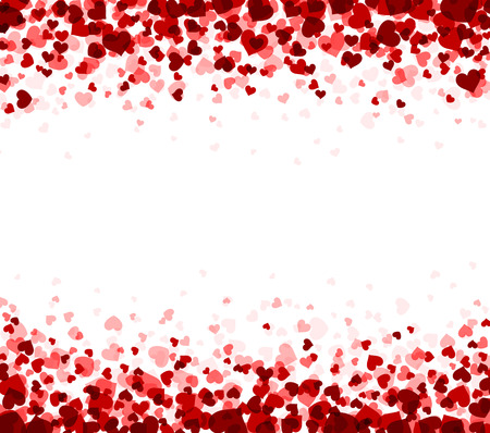 Romantic white background with hearts. Vector paper illustration. Çizim