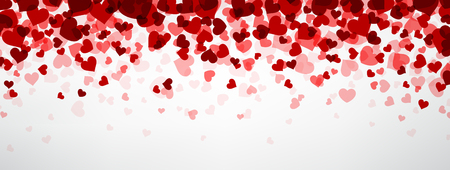 Romantic background with hearts. Vector paper illustration. Vettoriali