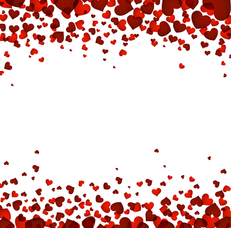Romantic square background with red hearts. Vector illustration. Çizim