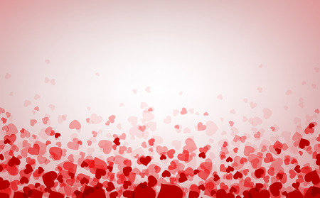 Romantic pink background with hearts. Vector paper illustration. Vettoriali