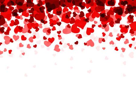 Romantic white background with red hearts. Vector paper illustration. Ilustração