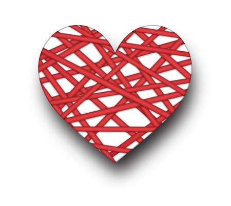 paper heart: Romantic card with red heart. Vector paper illustration.