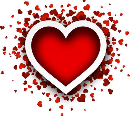 Valentinstag Liebe Karte mit roten Herzen. Vektor-Papier-Illustration.