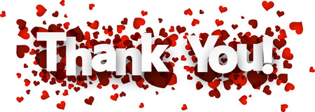 Thank you card with red hearts. Vector paper illustration.
