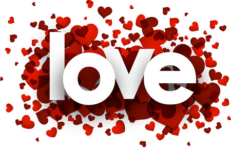 valentines background: Love card with red hearts confetti. Vector paper illustration.