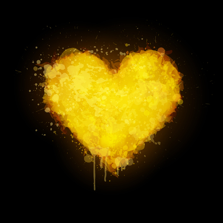yellow heart: Love abstract card with yellow heart. Vector paper illustration. Illustration